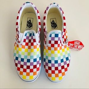 Vans Classic Slip-On Checkerboard Rainbow Shoes